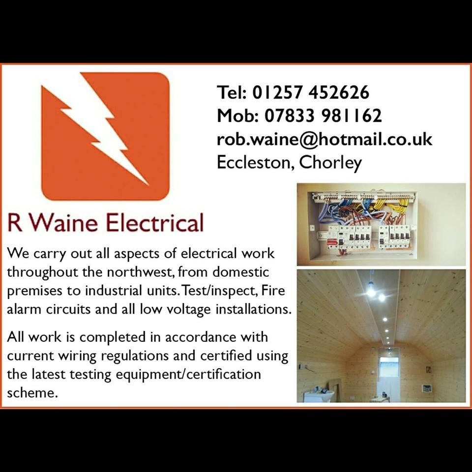 R Waine Electrical Electrician Chorley Preston Eccleston Leyland Domestic Wiring Regulations